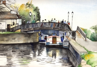 A watercolour of a typical summer day at Beeston lock.