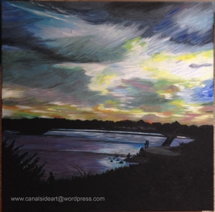 Beeston Wier at Sunset. Original oil on canvas. 40 x 40cm. £60.00