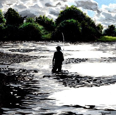Fishing by the weir
