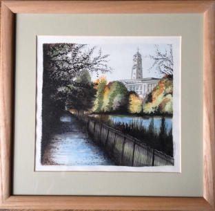 A framed original watercolour of the University of Nottingham. £60.00