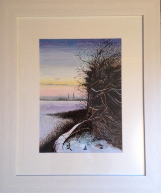 Winter view of the Weir field and CanalSide. Original Acrylic in mound and frame £90.00.