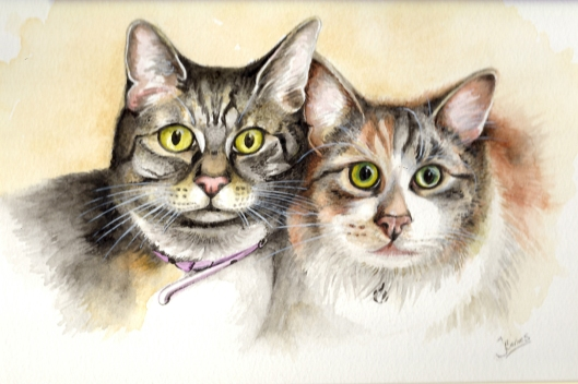 """Emily and Charlotte"" Watercolour. Sold"