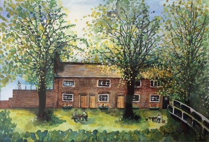 Framed original watercolour of Beeston Lock Cottages. £90.00